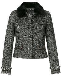 Loveless - Contrast Collar Tweed Jacket - Lyst