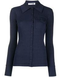Courreges Button-through Ribbed Shirt - Blue