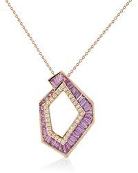 Kavant & Sharart Collana con pendente Origami Link no.5 in oro rosa 18kt con diamanti e zaffiri