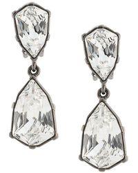 Oscar de la Renta Crystal Drop Earrings - Grey