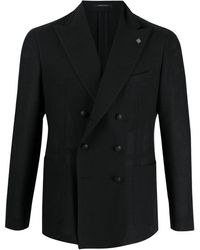 Tagliatore Lapel-pin Double-breasted Blazer - Black
