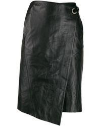 Karl Lagerfeld Leather Wrap Skirt - Black
