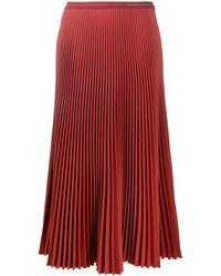 Prada Accordion Pleated Midi Skirt - Red