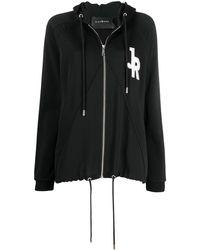 John Richmond Duella Logo Patch Zipped Hoodie - Black
