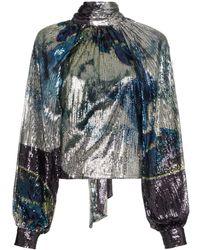 Ganni - Bluse mit Pailletten - Lyst