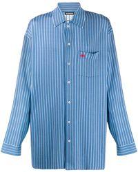Balenciaga Cocoon Striped Shirt - Blauw