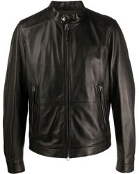 BOSS Zipped Leather Jacket - Black