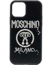Moschino Iphone 12/12 Pro Hoesje Met Logo - Zwart