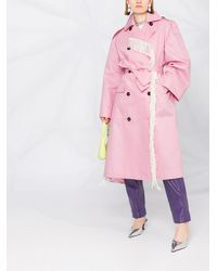 MSGM Тренч С Цветочным Принтом - Розовый