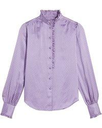 Marc Jacobs Ruffle-trimmed Silk Shirt - Purple