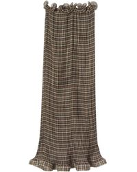 Burberry Ruffle Detail Check Skirt - Brown