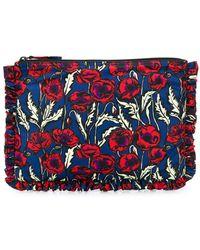 LaDoubleJ Blooms Print Ruffle Trim Clutch Bag - Red