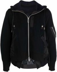 Sacai フーデッドジャケット - ブラック