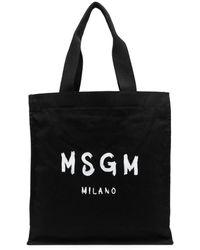MSGM Paint Brushed-logo Shopper Bag - Black
