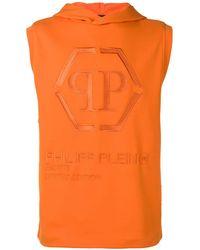 Philipp Plein Sweat à capuche à design sans manches - Orange