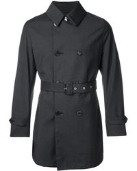 Mackintosh Charcoal Wool Storm System Short Trench Coat - Grijs