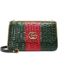 Gucci Green And Red Web Straw Small Shoulder Bag