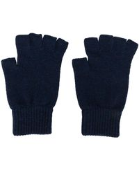 Pringle of Scotland Fingerless Cashmere Gloves - Blue