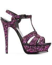 Saint Laurent Pink Tribute 135 Glitter Sandals