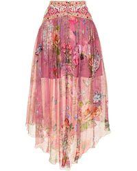 Camilla フローラル シルクスカート - ピンク