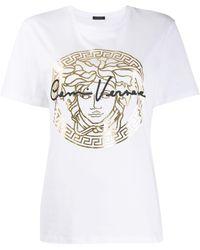 Versace T-shirt à logo imprimé - Blanc