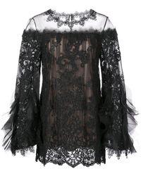 Marchesa Ruffle Sleeve Blouse - Black