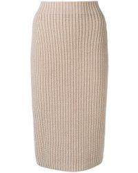 Iris Von Arnim Knitted Pencil Skirt - Natural