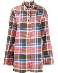 Marco De Vincenzo チェック オーバーサイズシャツ - ピンク