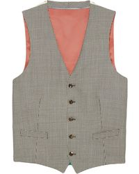 Gucci Houndstooth Wool Formal Vest - Gray