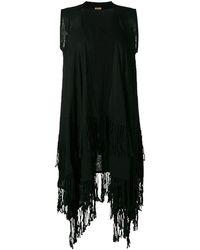 Caravana Sleeveless Fringed Coat - Black