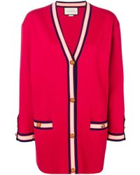 Gucci Oversized-Cardigan mit Web - Rot