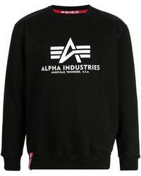 Alpha Industries Logo Print Sweatshirt - Black