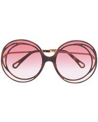 Chloé Солнцезащитные Очки Carlina В Массивной Круглой Оправе - Многоцветный