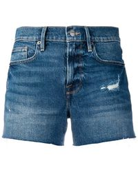 FRAME - Distressed Denim Shorts - Lyst