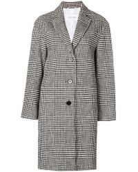 Calvin Klein - Check Patterned Coat - Lyst