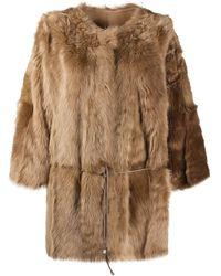 Yves Salomon Tie-wais Fur Coat - Green