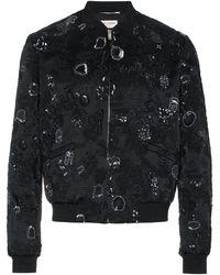 Saint Laurent Sequin Embroidered Bomber Jacket - Zwart