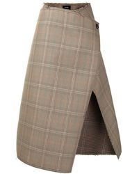 we11done Open-front Wrap Skirt - Brown
