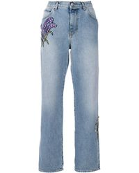 Alexander McQueen フローラル刺繍 ストレートジーンズ - ブルー
