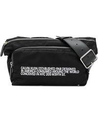 CALVIN KLEIN 205W39NYC エンブロイダリー ショルダーバッグ - ブラック