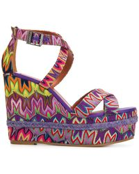 Missoni | Embroidered Wedged Sandals | Lyst