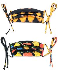 Amir Slama Fruit Print Face Masks (pack Of 2) - Black