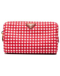 Prada - Red Gingham Cotton Makeup Pouch - Lyst