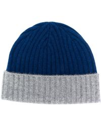 N.Peal Cashmere Chunky Rib Contrast Knit Hat - Blue