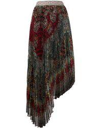 Alice + Olivia Asymmetric Pleated Skirt - Red