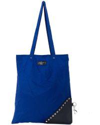 Valentino Sac cabas à patch logo et clous - Bleu