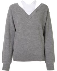 T By Alexander Wang Off The Shoulder Sweater - Gray