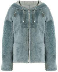 Yves Salomon Zip-through Hooded Coat - Green