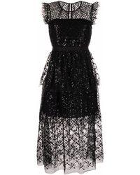 Self-Portrait Sequin-embellished Midi Dress - Black