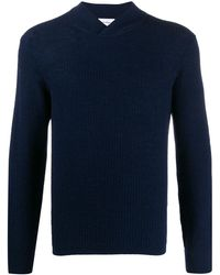 Ferragamo Wrap-effect Neck Knitted Sweater - Blue